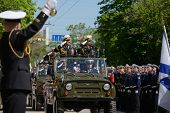 SEVASTOPOL, UKRAINE - MAY 9: Vice admirals Ilyin, Ukraine, left and Fedotenkov, Russia, review the t