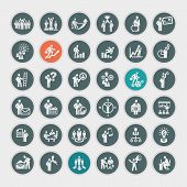 picture of compass  - Set of different business people concept icons - JPG