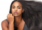 picture of flowing hair  - Close up portrait of a beautiful young woman with flowing hair - JPG