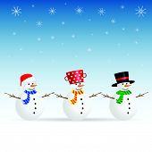 Snowman Set Color Vector Illustration