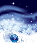 Isolated raster version of vector Christmas and New-Year's blue snow storm background with snowflakes and Christmas tree decorations (contain the Clipping Path of the balls and ribbon)