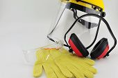 Safety gloves, safety Goggle , Helmet and earmuffs