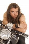 Man Lean Forward On Motorcycle