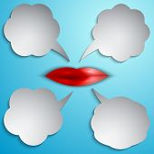Vector speech bubble set with lips