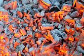 Glowing Hot Wood Embers