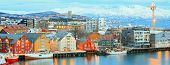 picture of tromso  - Aerial view of Tromso Cityscape at dusk Troms Norway - JPG