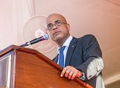 President of Haiti Michel Martelly on Public Street