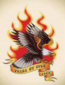 Bald eagle attacking through the fire and flames. Old-school tattoo design. Editable vector illustra