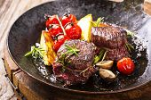 stock photo of deer meat  - venison medallions - JPG