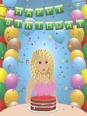 Young lady with cake, Happy Birthday greeting card