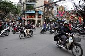 Crowded Scooter Traffic In Hanoi, Vietnam