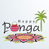 Happy Pongal, harvest festival celebration in South India with pongal rice in a traditional mud pot