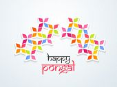 Beautiful Happy Pongal, harvest festival celebration in South India background with colorful floral design, can be use as flyer, poster or banner.