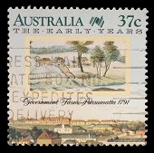AUSTRALIA - CIRCA 1988: A Stamp printed in Australia shows the Government Farm, Parramatta, Sydney,
