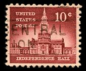 USA - CIRCA 1956: Postage stamps printed in USA, Allied Nations Issue, shows Independence Hall in Ph