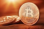 picture of electronic banking  - Golden Bit coins  - JPG