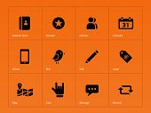 Social icons on orange background.