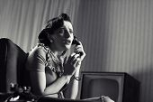 image of panic  - Shocked Woman talking on phone vintage image - JPG