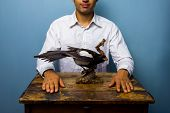 Man With Taxidermy Magpie