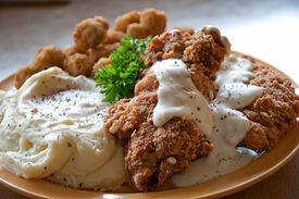 picture of okra  - This is a chicken fried steak with mashed potatoes and fried okra - JPG