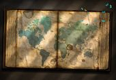 Old Tome with World Map and tiny moths