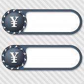 Set Of Two Vector Buttons With Arrows And Yen Sign