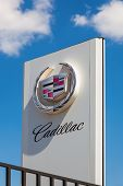 Samara, Russia - May 24, 2014: The Emblem Cadillac Over Blue Sky. Cadillac Motor Car Division Is A A