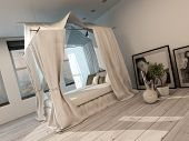 Stylish minimalist modern bedroom interior with a four poster bed, white painted parquet floor and l