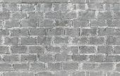 Gray Wall Made Of Aerated Concrete Blocks. Seamless Background Texture