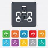 Database sign icon. Relational database schema.