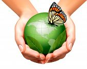 Green world with leaf and butterfly in woman hands. Vector illustration.