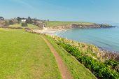 Coast path Porthcurnick Cornwall England UK north of Portscatho on the Roseland peninsula