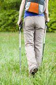 Female Legs And Nordic Walking Poles