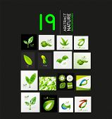 Mega collection of vector green summer concepts - leaves compositions