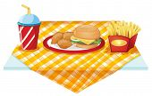 Illustration of a fastfood table with foods on a white background