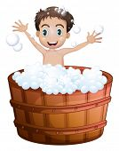 Illustration of a happy boy taking a bath on a white background