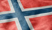 Oblique view of the Flag of Norway