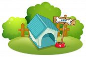 Illustration of a blue doghouse at the backyard on a white background