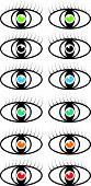 Set of vector colored eye symbols