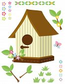Birdhouse flowers grass and butterfly