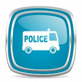 police blue glossy icon