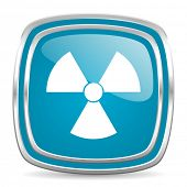 radiation blue glossy icon