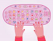 Cute girl pink keyboard