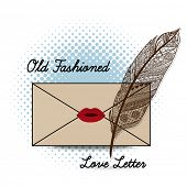 Old Fashioned love letter with quill feather