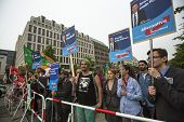 BERLIN, GERMANY - MAY 23, 2014: Activists rally against AfD is a centrist political party founded in