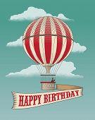 Happy Birthday - Greeting card - Hot air balloon. Vintage vector illustration.