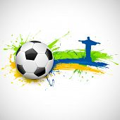illustration of soccer ball and Christ the Redeemer in Football background