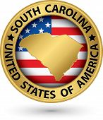 South Carolina State Gold Label With State Map, Vector Illustration