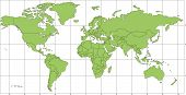 World Mercator Map with Countries and Longitude, Latitude Lines