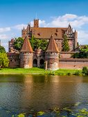 Picturesque panorama of Malbork castle in Pomerania region, Poland